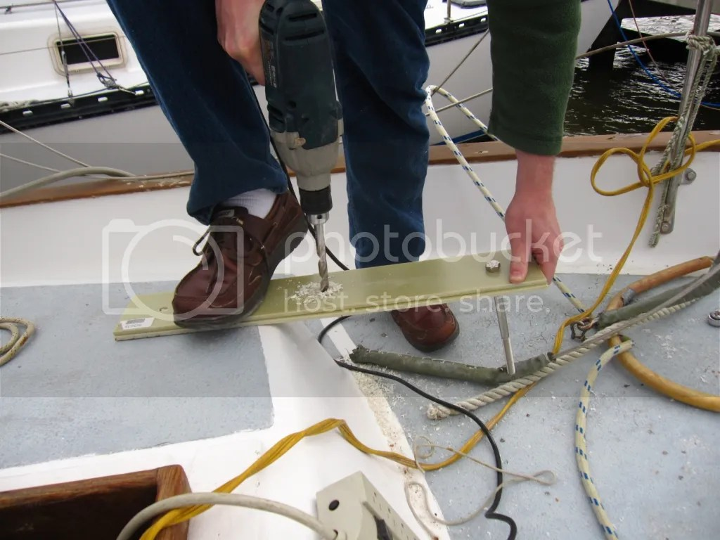 Drilling two boards for bowsprit