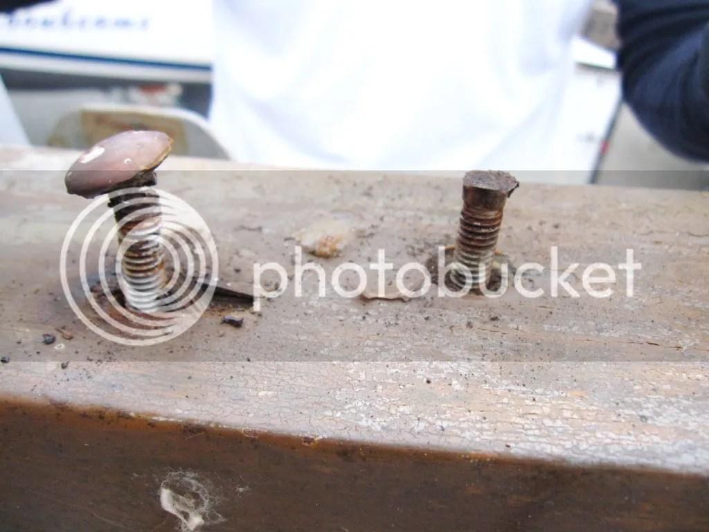 Broken bolts for the windvane