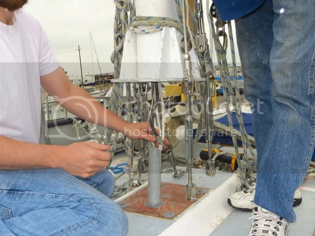 Routing wires to step the mast