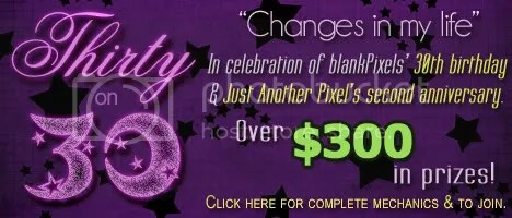 blankPixels' Thirty on 30 Blog Contest to celebrate her 30th birthday and Just Another Pixel's second anniversary!