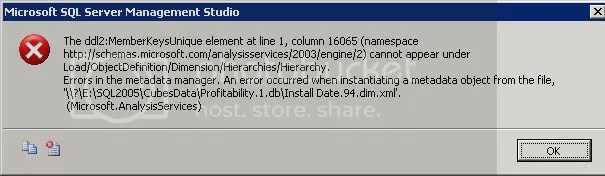 Errors in the metadata manager  An error occurred when