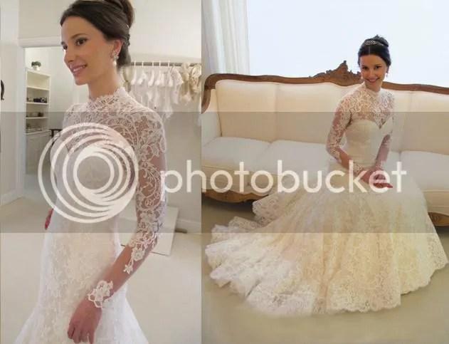 2014 Fashion High Neck Modern Mermaid Lace Wedding Dress