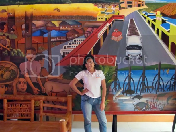 With a painting in the function hall.
