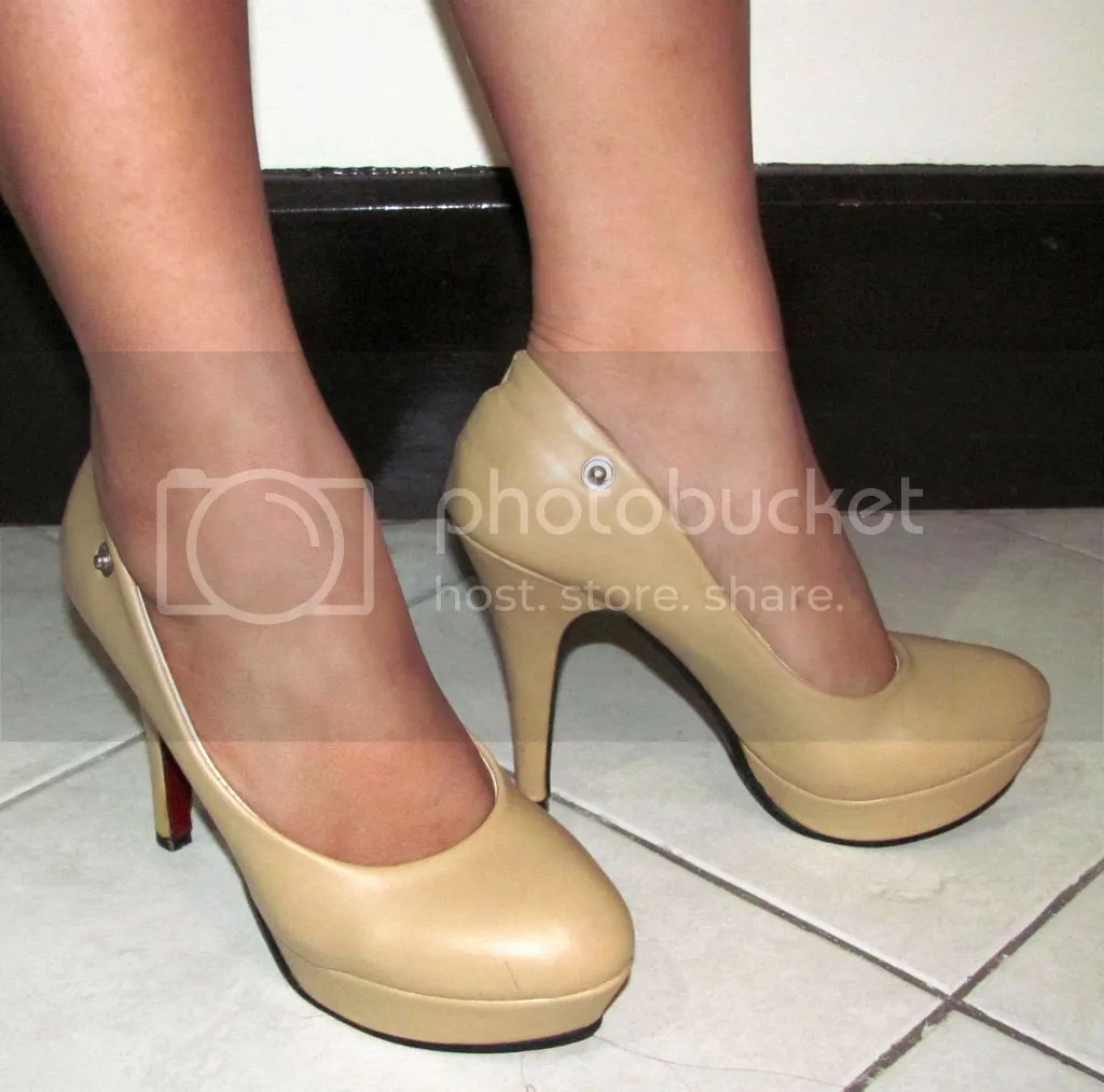Nude Platform Pumps when worn