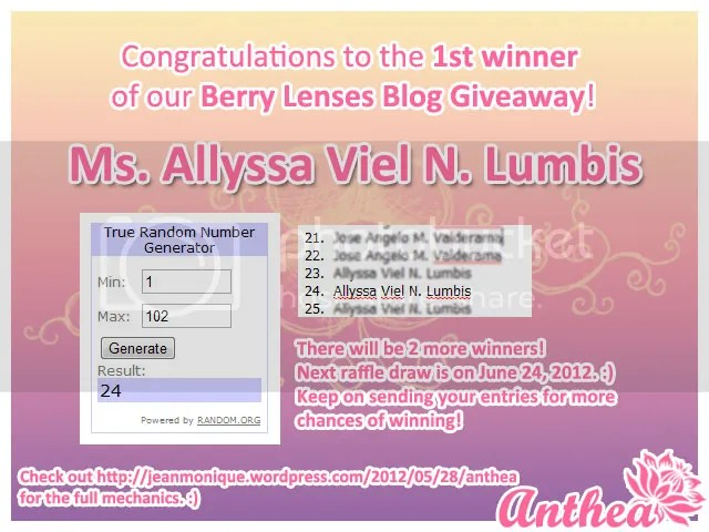 Berry Lenses Blog Giveaway - 1st Winner - Allyssa Viel Lumbis