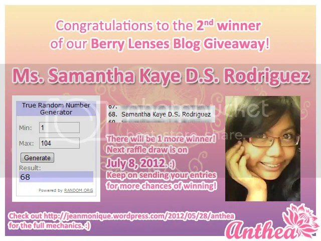 Berry Lenses Blog Giveaway - 2nd Winner - Samantha Kaye Rodriguez