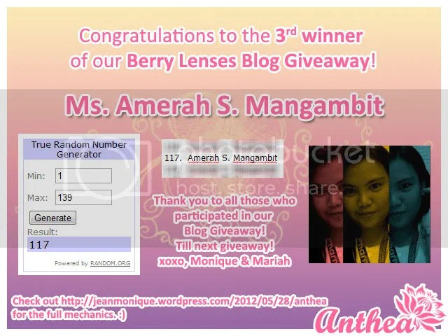 Berry Lenses Blog Giveaway - 3rd Winner - Amerah Mangambit