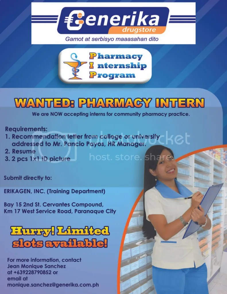 Generika's Community Pharmacy Internship Program Poster (October 2011)
