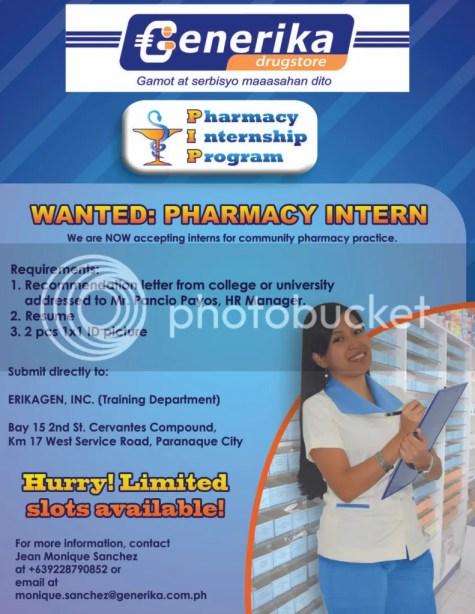 Generika's Community Pharmacy Internship Program Poster (October 2011)