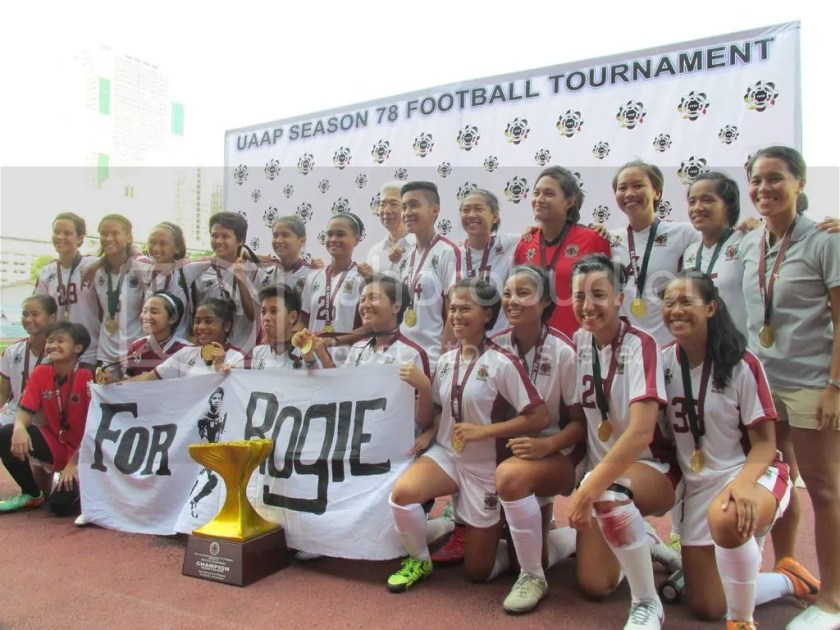 The UP Women's Football Team bagged its first ever UAAP title after beating La Salle, 2-1! ‪#‎GoalUP‬ ‪#‎UPFight‬ ‪#‎ForRogie‬ Photo by David Tristan Yumol