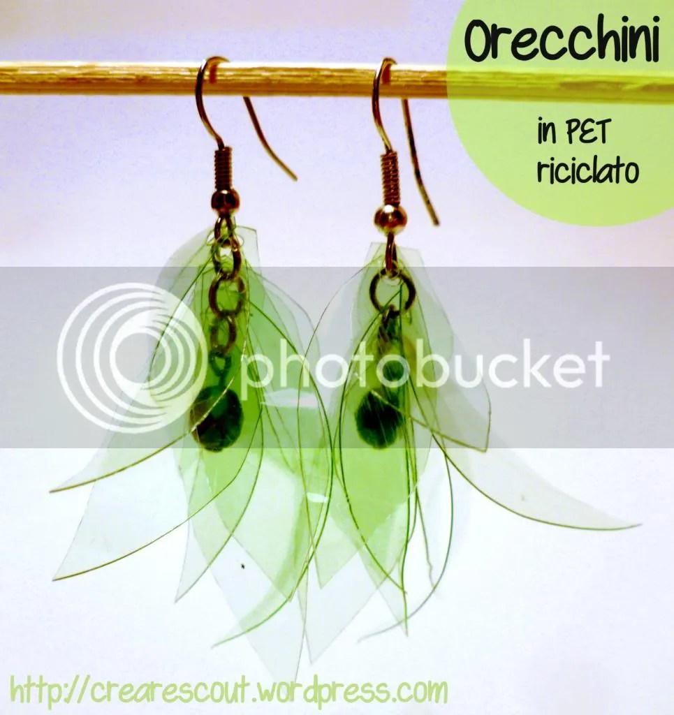 orecchini botiglie PET riciclo