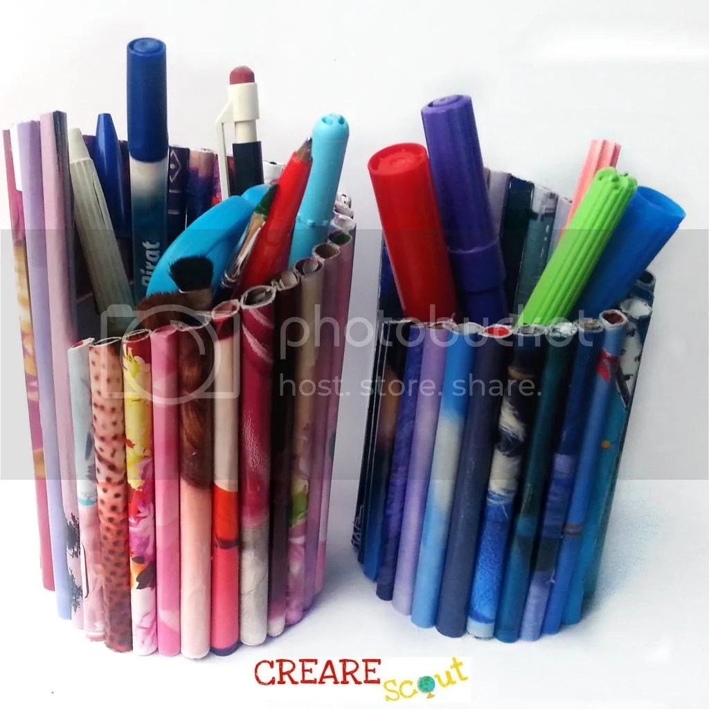 rolled paper pencil holder
