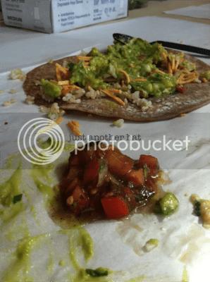 veggie burrito with guacamole and corn salsa