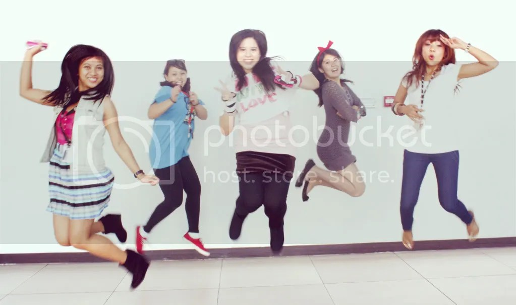 Group jump shot: Tateen, Clare, me, Argee, and Karen.