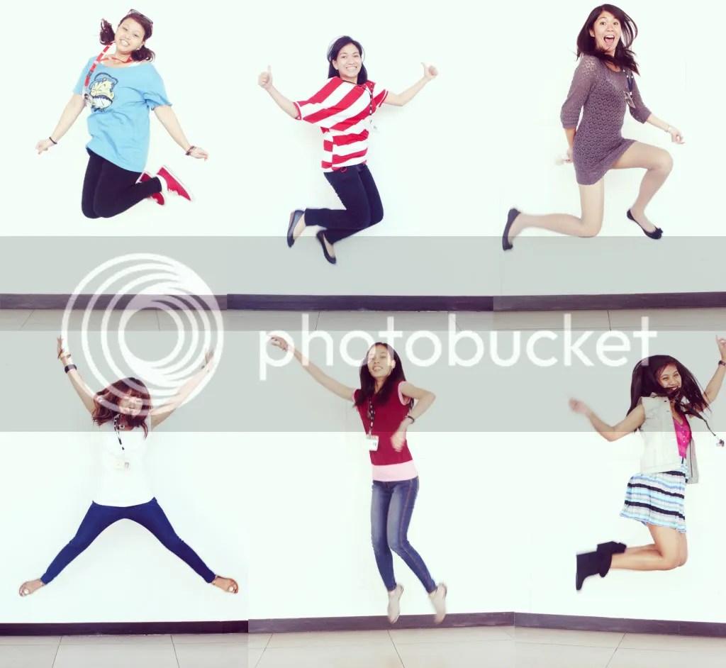 Clare, Jera, Argee, Karen, Rose, and Tateen jump shots.