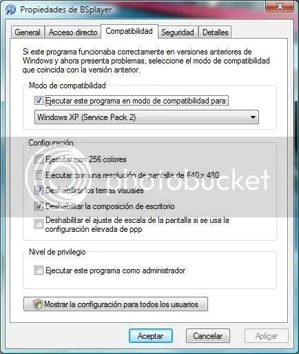 Opciones de compatibilidad para BSPlayer