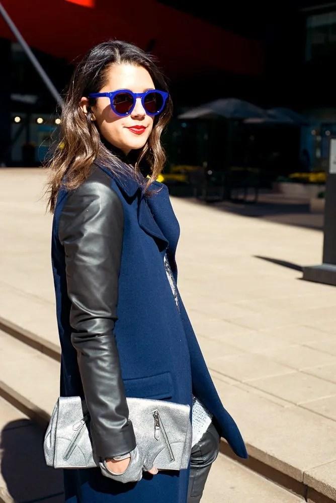Barneys New York Leather Sleeve Coat on ChiCityFashion's Jena Gambaccini