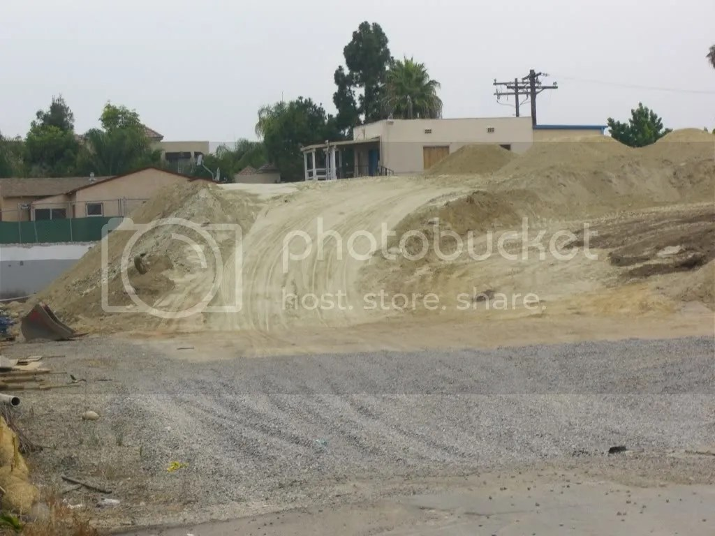 Bulldozer made ramp from sand