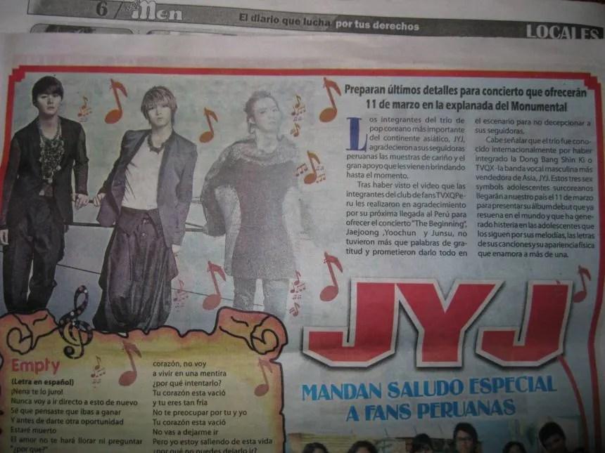 INFO] 120117 JYJ in Peru's newspaper, 'El Men' | JYJ3