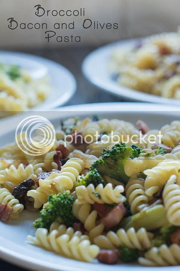 Broccoli Bacon Olives Pasta recipe