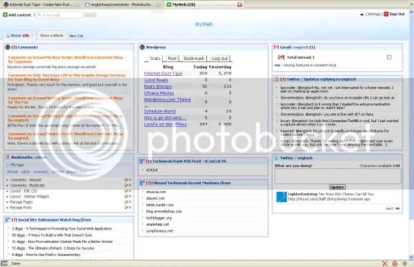blog maintenance netvibes start page