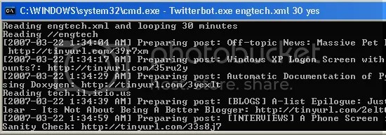 Twitterbot output Twitter log chat instant messanging