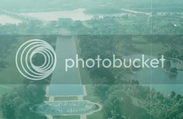Washington D.C., Reflecting Pool, Lincoln Memorial vom Washington Monument