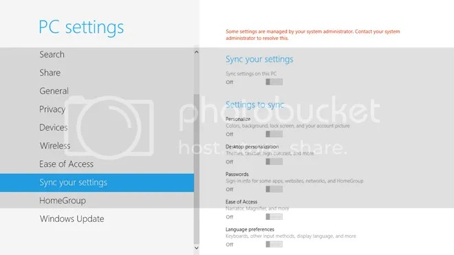 Turn Off Sync Settings For All in Windows 8