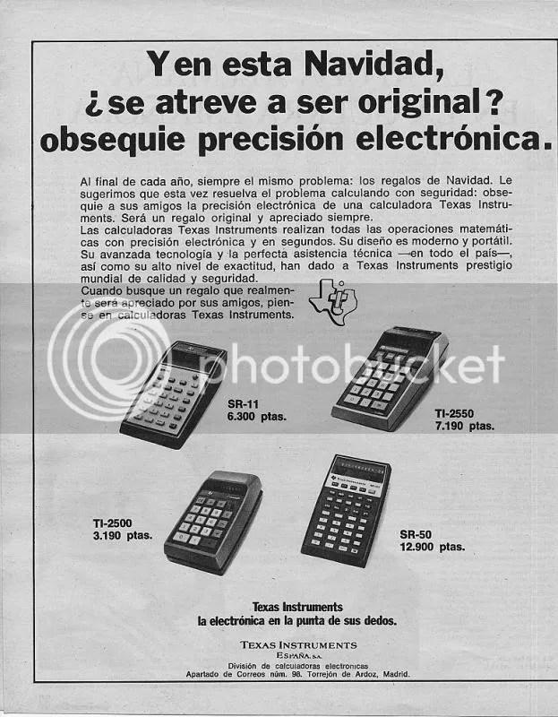 Calculadoras Texas Instruments Navidades 1974