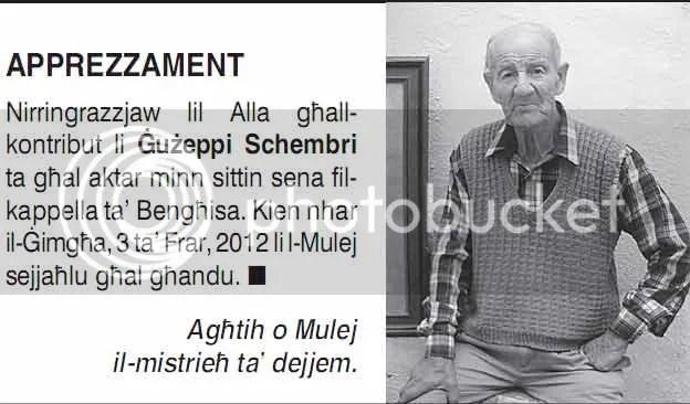 Apprezzament Ġużeppi Schembri (Bengħisa)