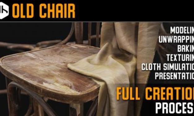 [Gumroad] Old Chair Full Creation Process (3ds Max, Substance Painter, Clo3d)