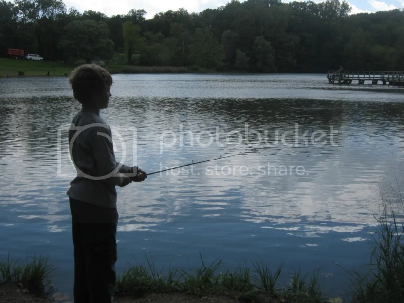 Aiden fishing at Delaware Lake in Fort Harrison State Park in Indianapolis during our Camptown camping trip