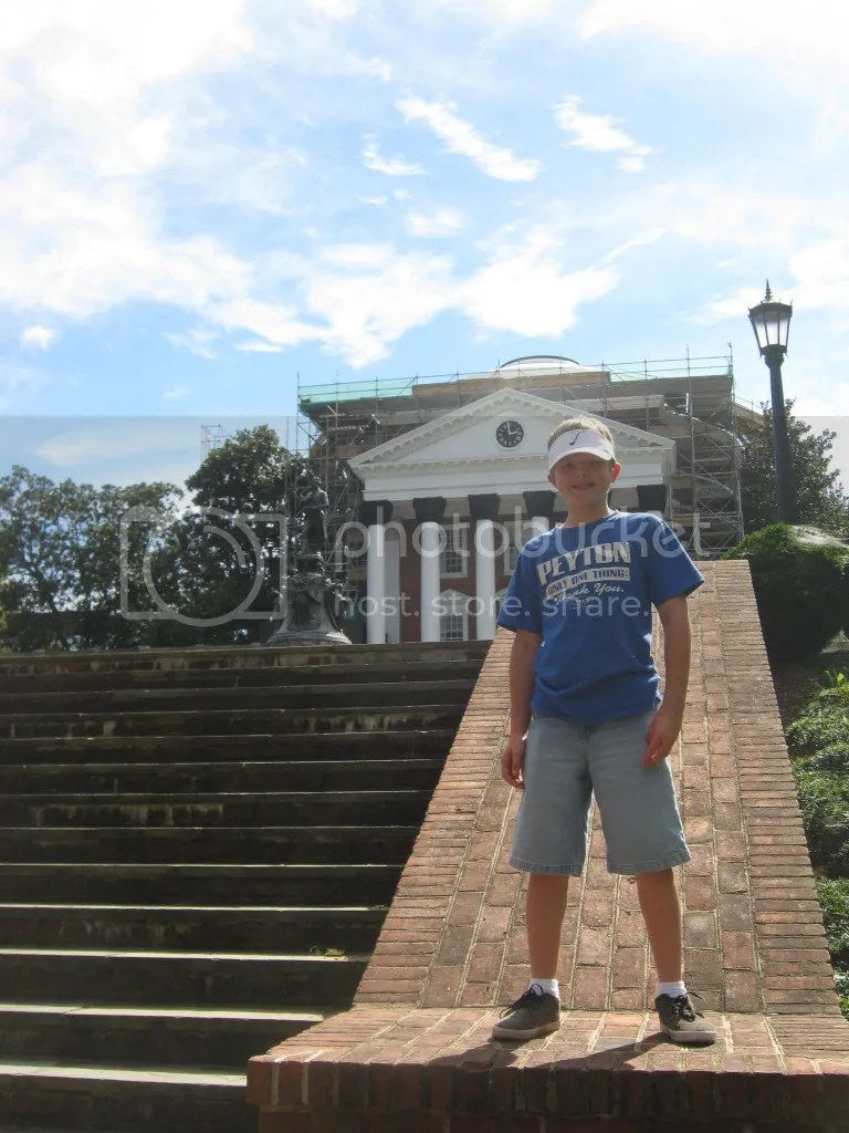 Aiden in front of the Rotunda at the University of Virginia