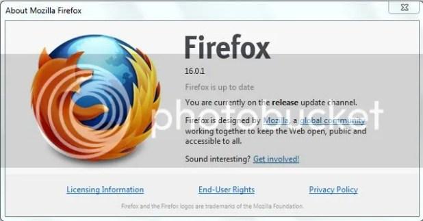 Firefox 16.0.1 interface