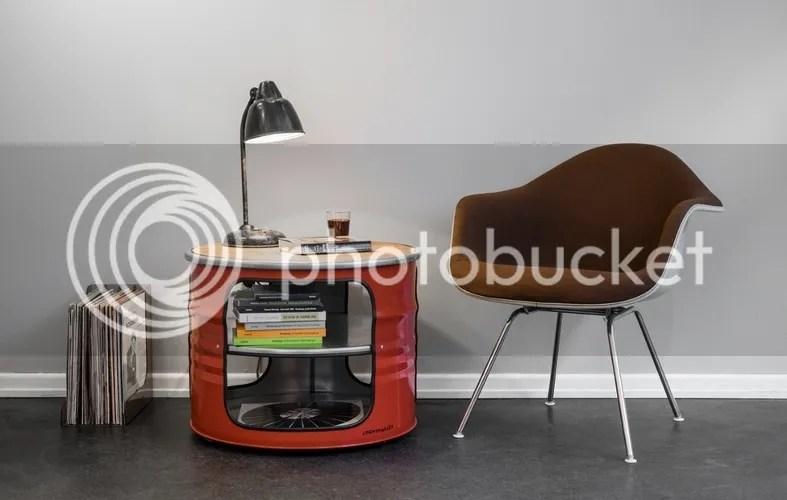 Beistelltisch Couchtisch Industriestil Sofatisch orange rot Metall grau used look Industriedesign offene Fächer Ablagen Fassdesign rund