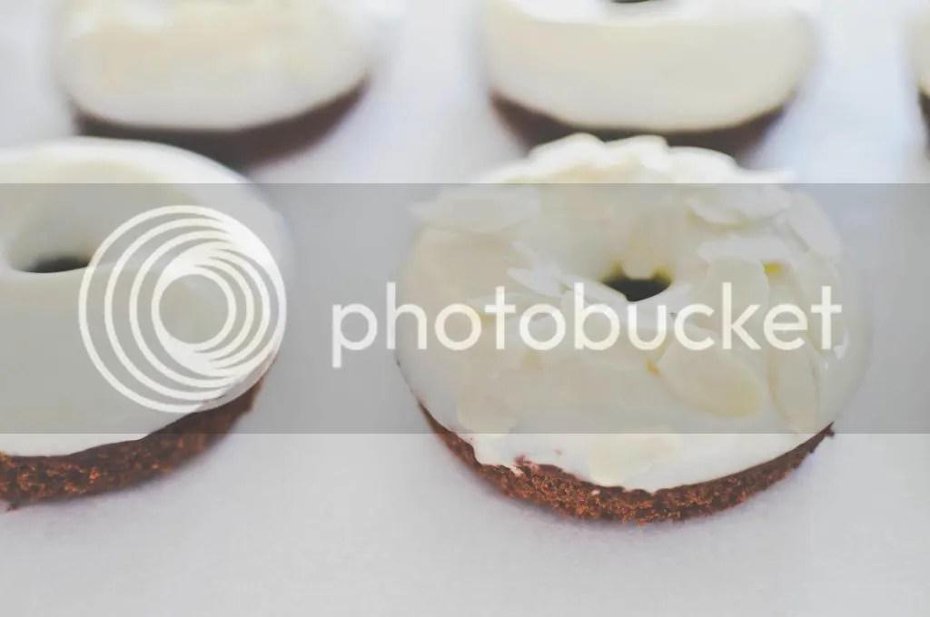 Chocolate & Honey Cake Donuts with Cream Cheese Glaze