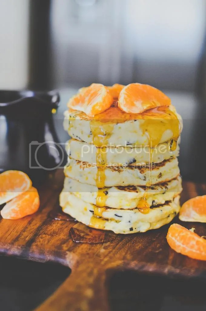 Zesty Orange-Scented Pancakes with Cacao Nibs
