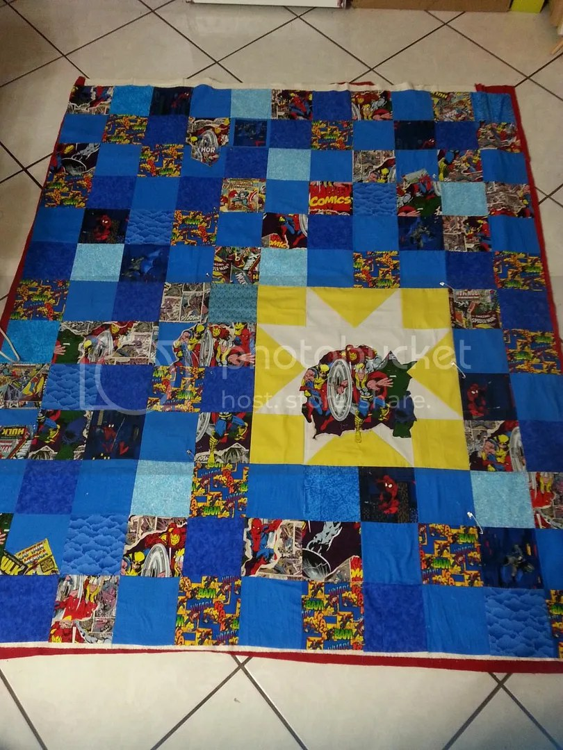 Superhero Quilt before binding