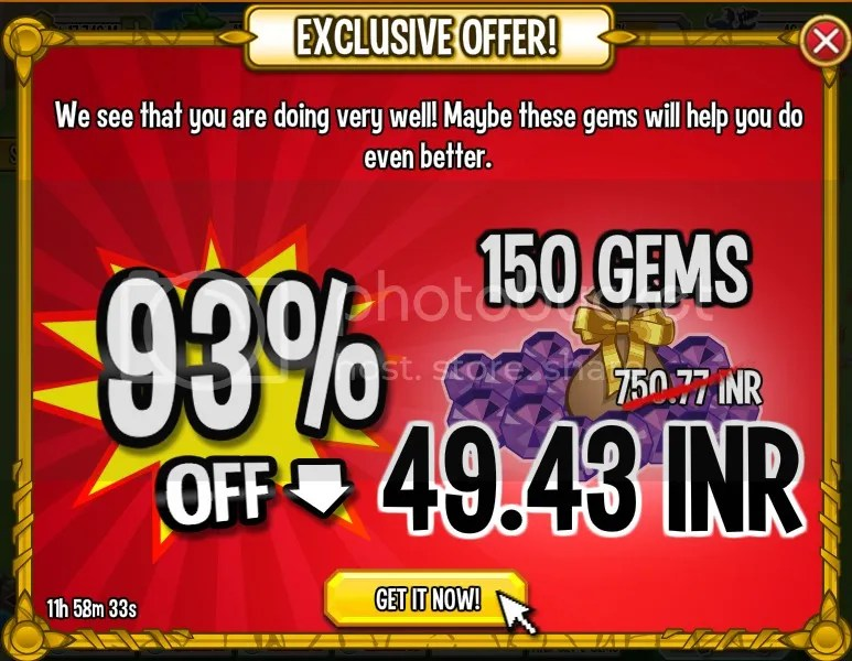 93 % Off on Gems | 150 Gems for $0.8