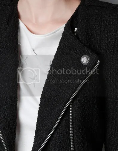 ZARA F/W 2012 Fantasy Fabric Jacket Zips Tweed Black Details close up