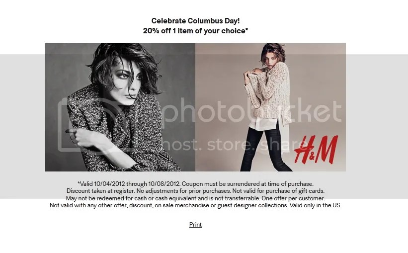 H&M Columbus Day 20% off coupon
