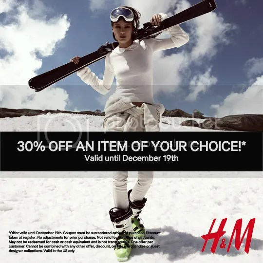 H&M 30% off Coupon Dec 19
