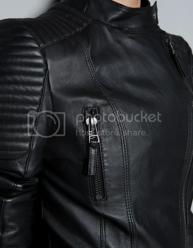ZARA Leather Biker Jacket with Padded Shoulders Details