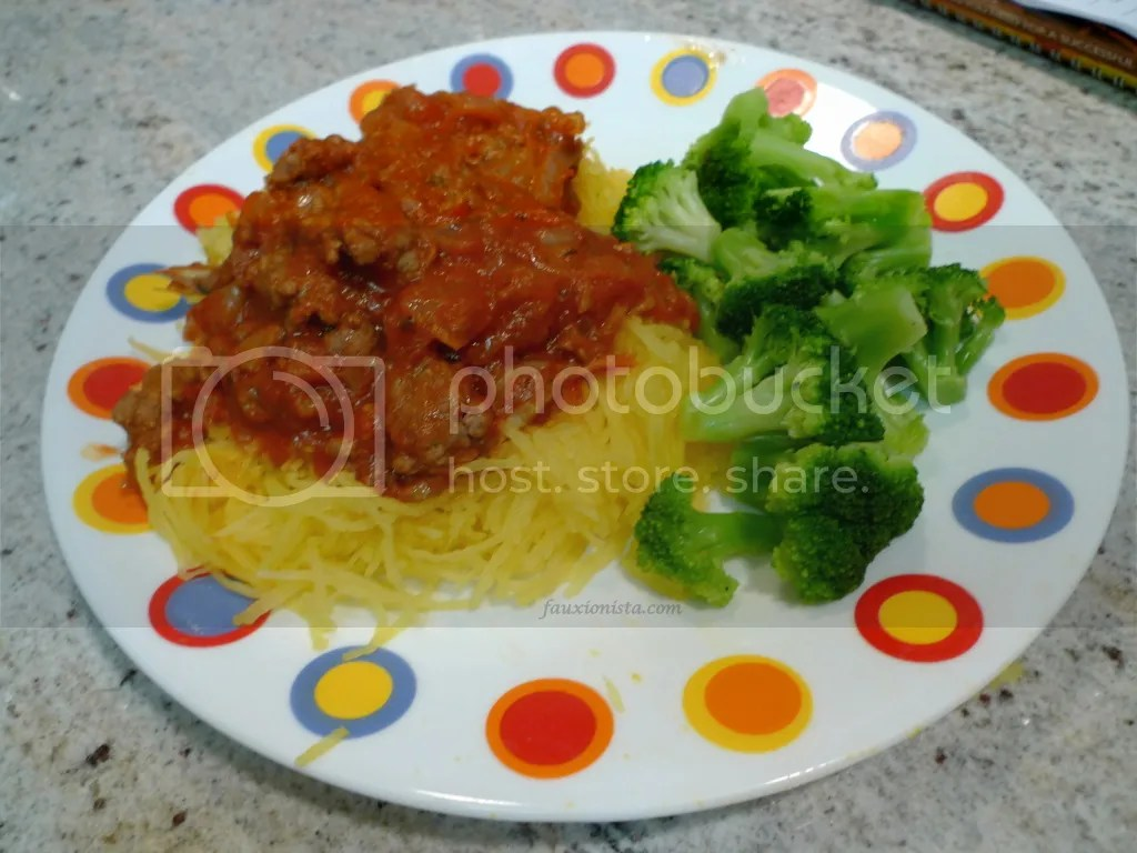 Spaghetti squash, ground beef, onions, broccoli