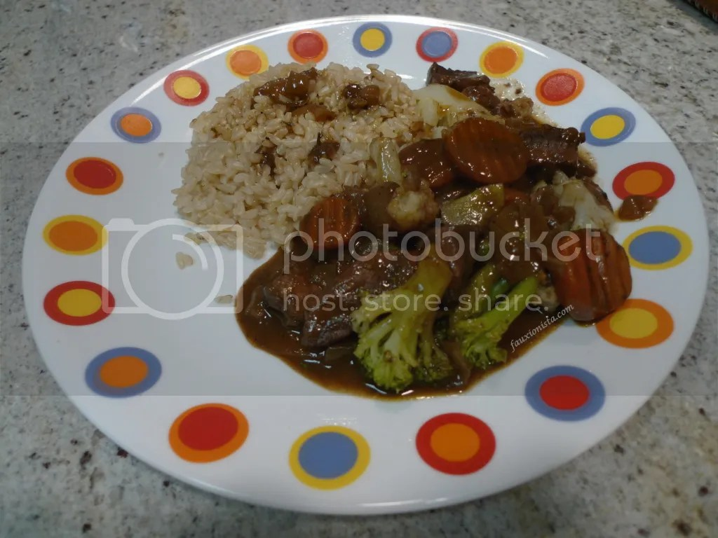 Beef stew with brown rice