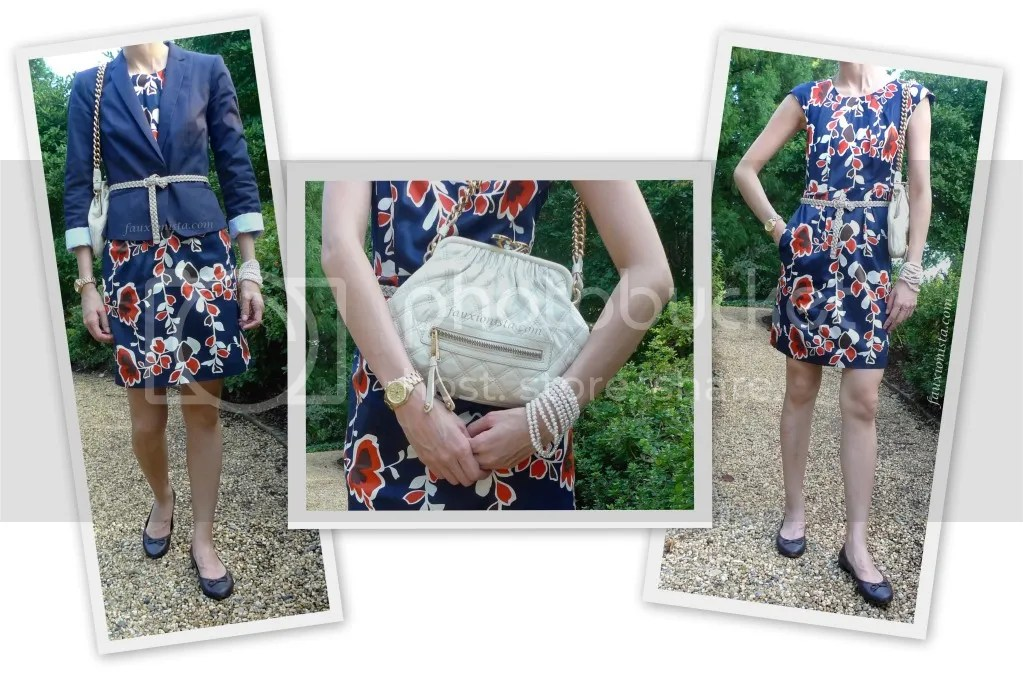Fauxionable Outfit - Navy Floral Print Sheath Dress Marc Jacobs Little Stam
