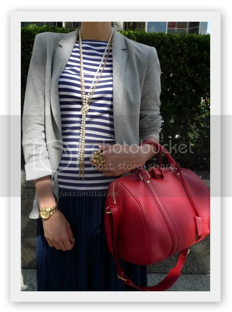 Fauxionable Outfit - Stripes & Pleats Fall Transition Louis Vuitton Sofia Coppola cherry red blue gold