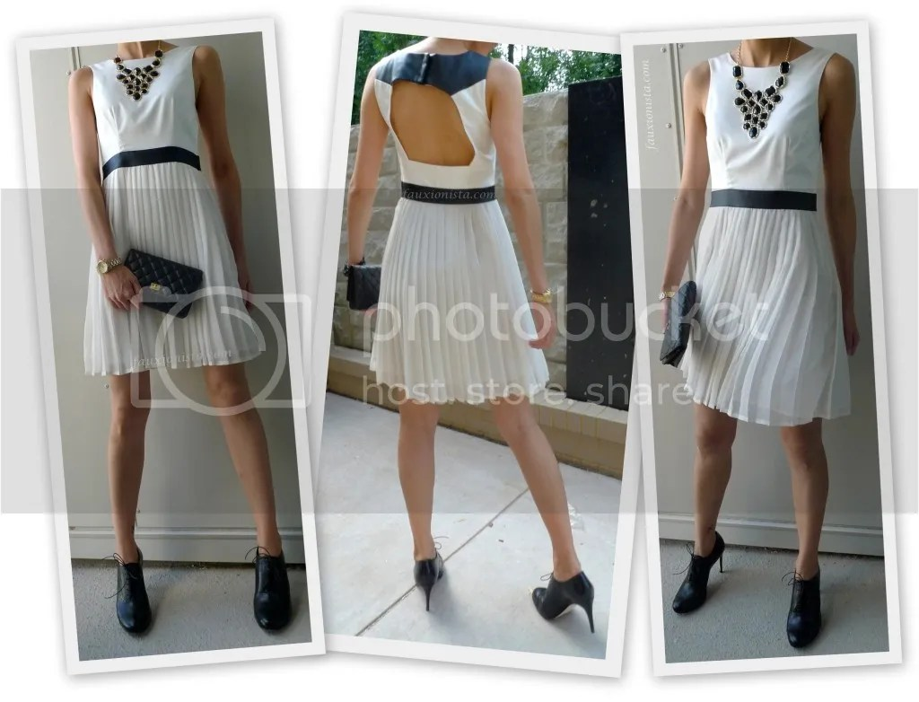 Fauxionable Outfit - Girls' Night Out Cut-out Back Dress Pleated Skirt, Statement Necklace, white, black, gold