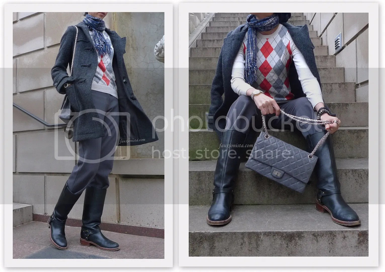 Fauxionable Outfit - Orange and Gray Argyle Fall Winter Print Chanel Anniversary Gray Reissue 226