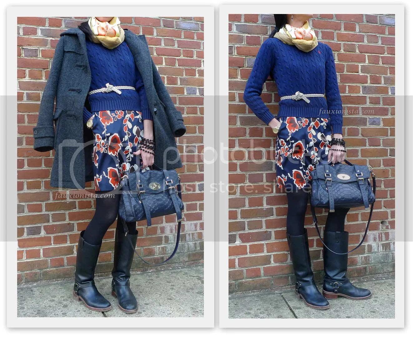 Fauxionable Outfit - Double Scarves, Double Floral wearing two 2 scarves together